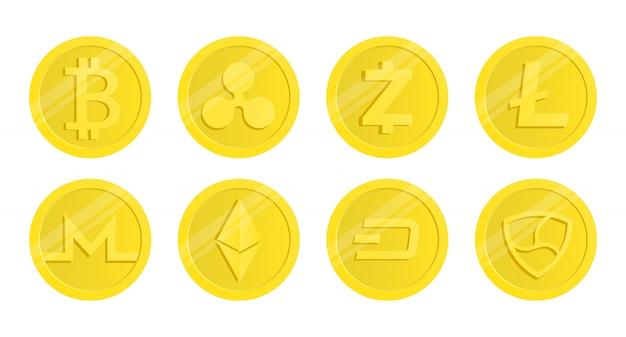Satz von kryptowährung. beliebte kryptowährungen. Premium Vektoren