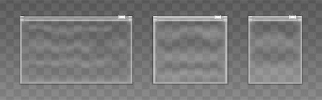 Satz von kunststoff-reißverschlusstasche Premium Vektoren