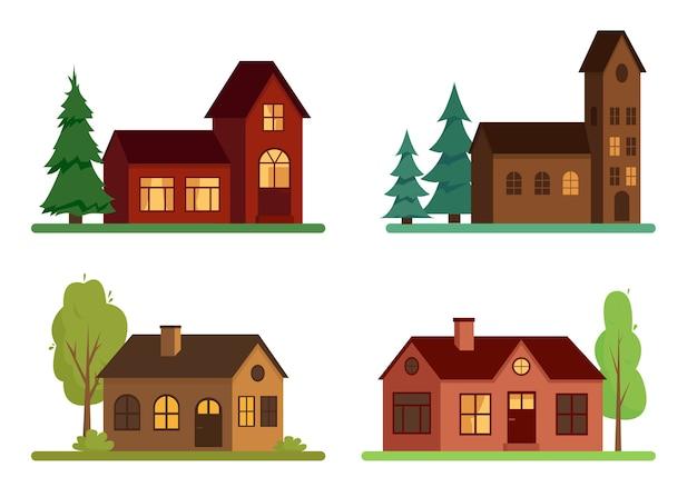 Satz von landhäusern mit bäumen auf weißem hintergrund Premium Vektoren