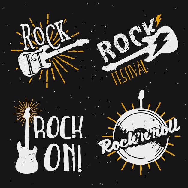 Satz von logos mit rockmotiven, symbolen, abzeichen, etiketten, schildern mit designelementen: e-gitarre, beleuchtung, sunburst, schallplatte. rock on, rock it! Premium Vektoren