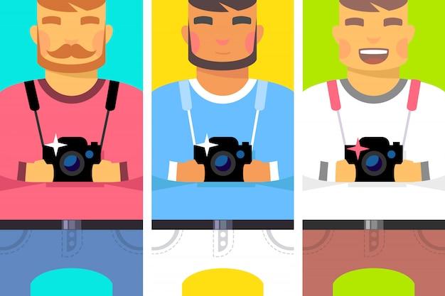 Satz von männern mit kamera Premium Vektoren
