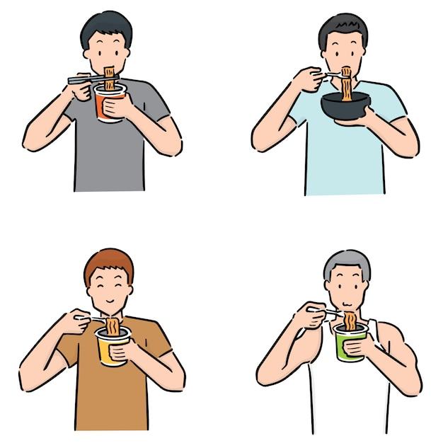 Satz von mann essen nudeln Premium Vektoren