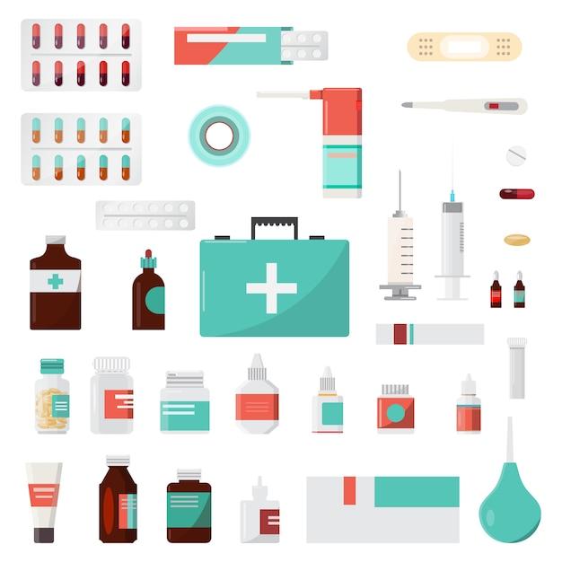 Satz von medizinflaschen, drogen und pillen, apotheke, drogerie Premium Vektoren