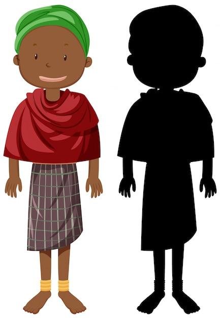 Satz von menschen der afrikanischen stämme charakter mit seiner silhouette Kostenlosen Vektoren