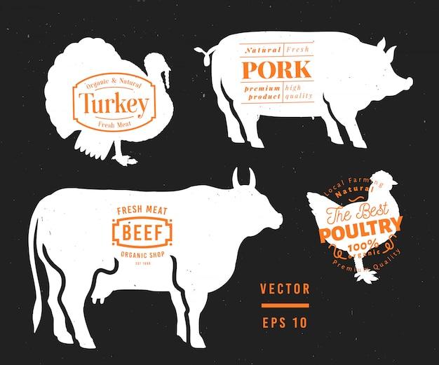 Satz von metzgerei etiketten und design-elementen. grafischer stier, schwein, truthahn, hühnerschattenbilder Premium Vektoren