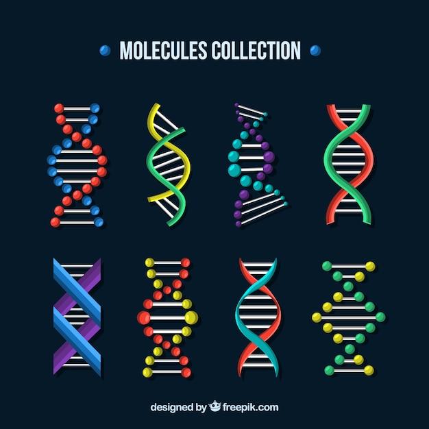 Satz von molekülen und dna-strukturen Premium Vektoren