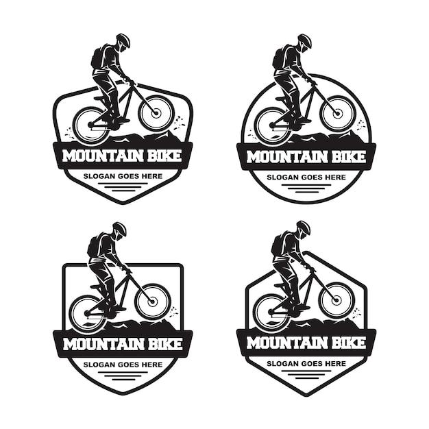 Satz von mountainbike-logo Premium Vektoren