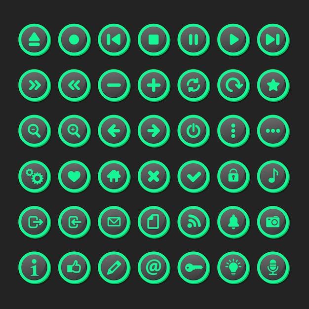 Satz von multimedia-symbol im fluoreszierenden modell festgelegt. Premium Vektoren