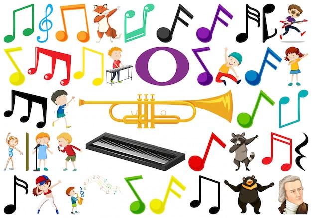 Satz von musikelement Kostenlosen Vektoren