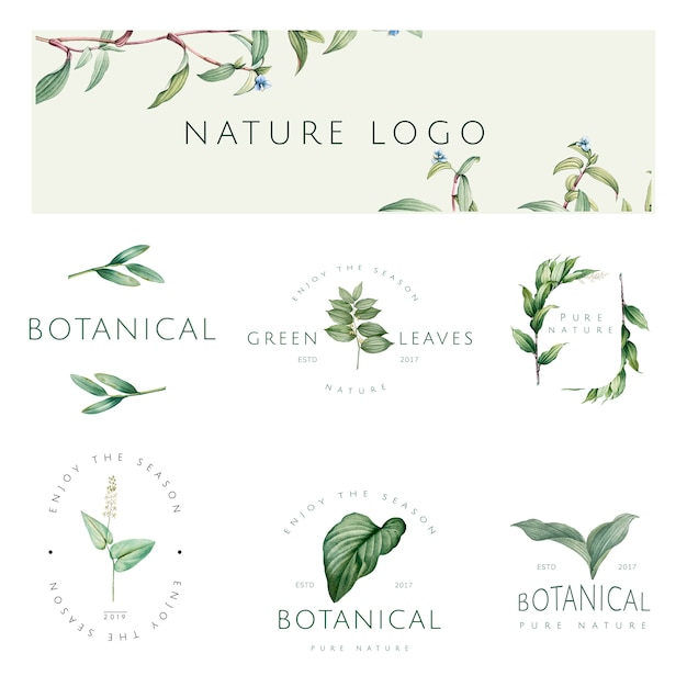 Satz von natur- und pflanzenlogovektoren Kostenlosen Vektoren