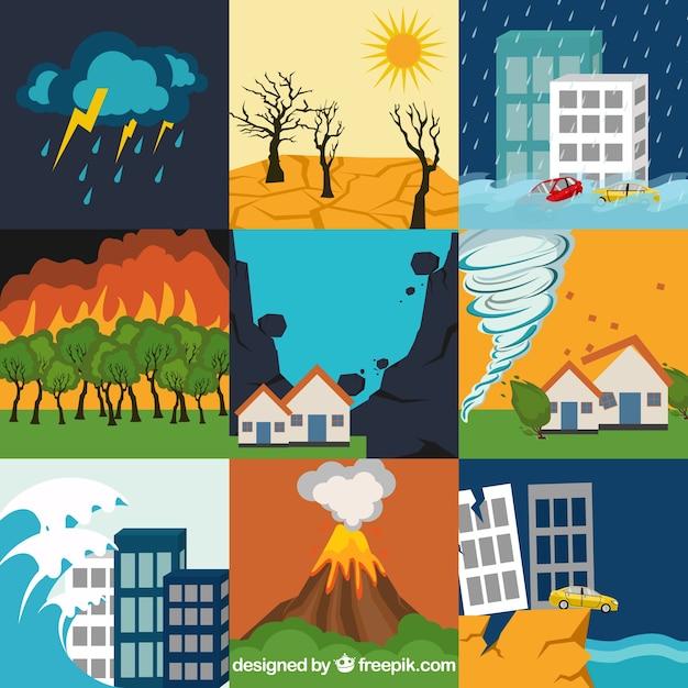 Satz von naturkatastrophen Kostenlosen Vektoren