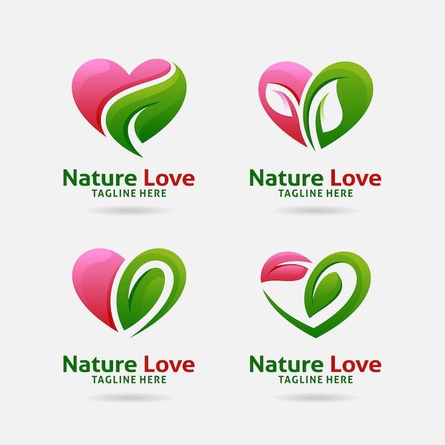 Satz von naturliebeslogodesign Premium Vektoren