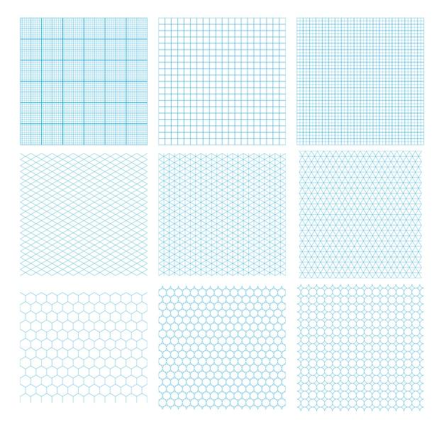 Satz von neun cyan-blauen geometrischen gittern, nahtlose muster lokalisiert. millimeter, isometrisch, sechseckig und kreise. Premium Vektoren