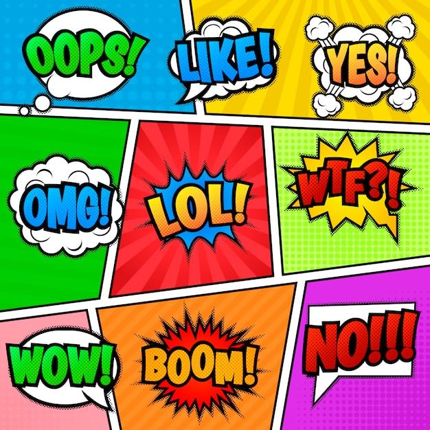 Satz von neun verschiedenen, bunten aufklebern am bunten comic-hintergrund. pop-arten-spracheblasen mit lol, wie, boom, wow, wtf, nein, omg, oops, ja. Premium Vektoren