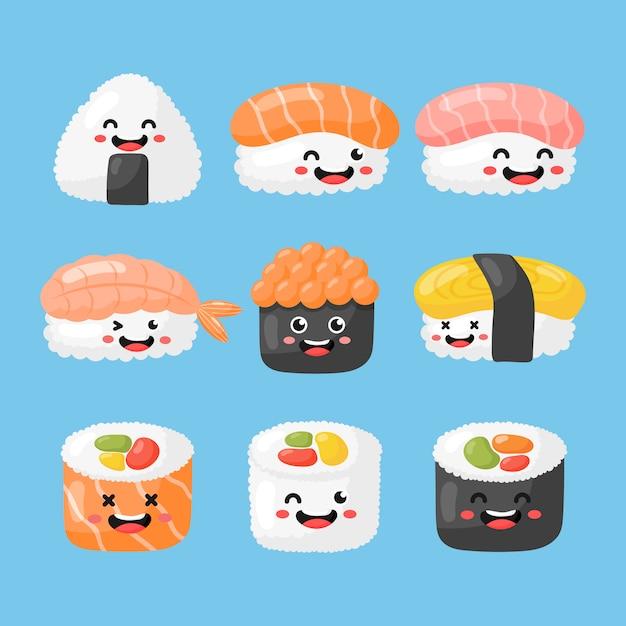 Satz von niedlichen lustigen sushi und sashimi cartoon. japanisches essen kawaii-stil isoliert. abbildung vektor. Premium Vektoren