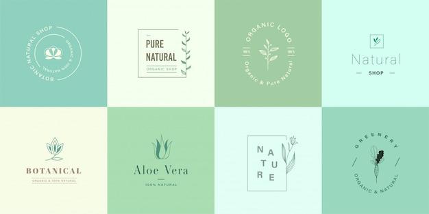 Satz von niedlichen natürlichen und organischen logo für das branding Premium Vektoren