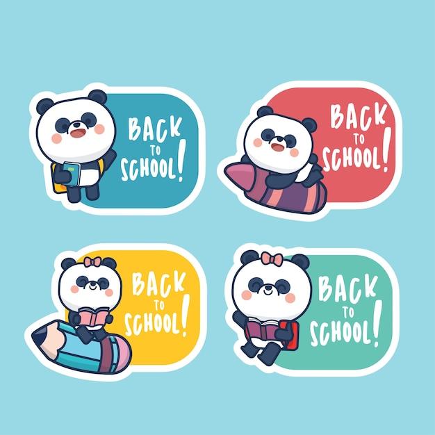 Satz von niedlichen panda zurück zu schule etikett aufkleber vorlage illustration tags cartoon-stil Premium Vektoren