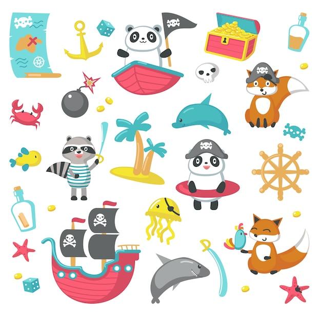 Satz von niedlichen piratentieren und meeresgegenständen Premium Vektoren