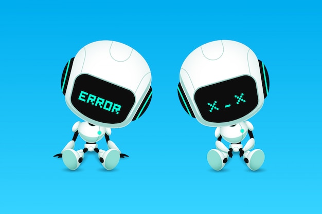 Satz von niedlichen roboter ai charakter fehler und absturz aktion Premium Vektoren