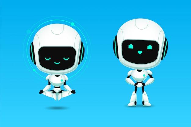 Satz von niedlichen roboter ai charakter meditation und vertrauen aktion Premium Vektoren
