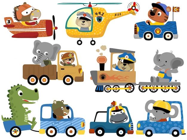 Satz von niedlichen tieren cartoon auf fahrzeugen Premium Vektoren
