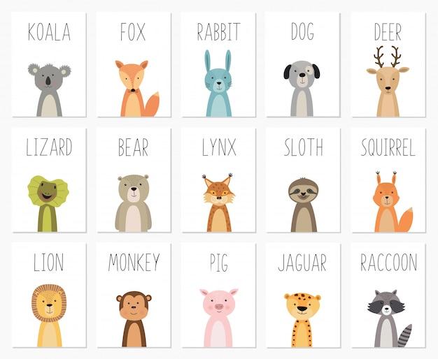 Satz von niedlichen tieren poster, vorlage, karten, bär, kaninchen, koala, fuchs, hirsch, schwein, eidechse, luchs, squirre Premium Vektoren