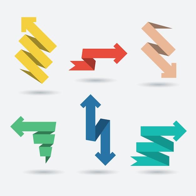 Satz von origami-papier pfeile Premium Vektoren