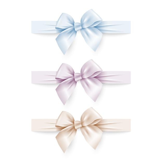 Satz von pastellfarben seidenbögen mit bändern Premium Vektoren