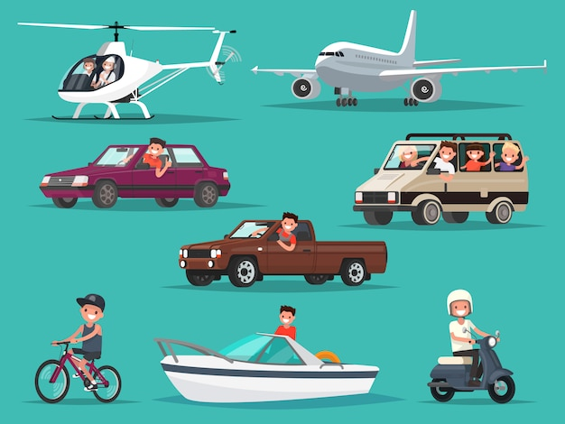 Satz von personen und fahrzeugen. flugzeuge, hubschrauber, autos, moped, fahrrad, boot. Premium Vektoren