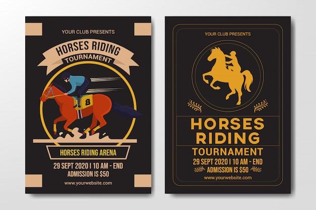 Satz von pferden reiten wettbewerb flyer vorlage Premium Vektoren