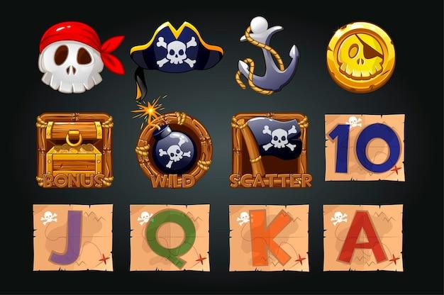Satz von piratensymbolen für spielautomaten. münzen, schätze, schädel, piratensymbole für das spiel. Kostenlosen Vektoren
