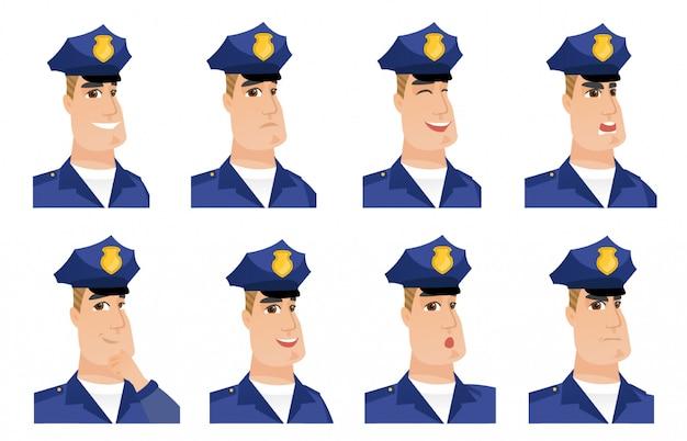 Satz von polizisten zeichen. Premium Vektoren