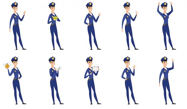 Satz von polizistin zeichen. Premium Vektoren