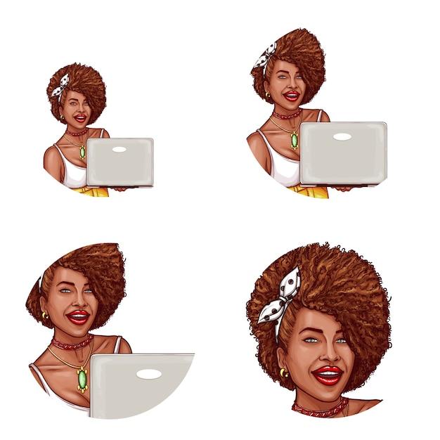 Satz von pop-art runden avatar symbol für benutzer von social networking, blogs, profil-icons Kostenlosen Vektoren