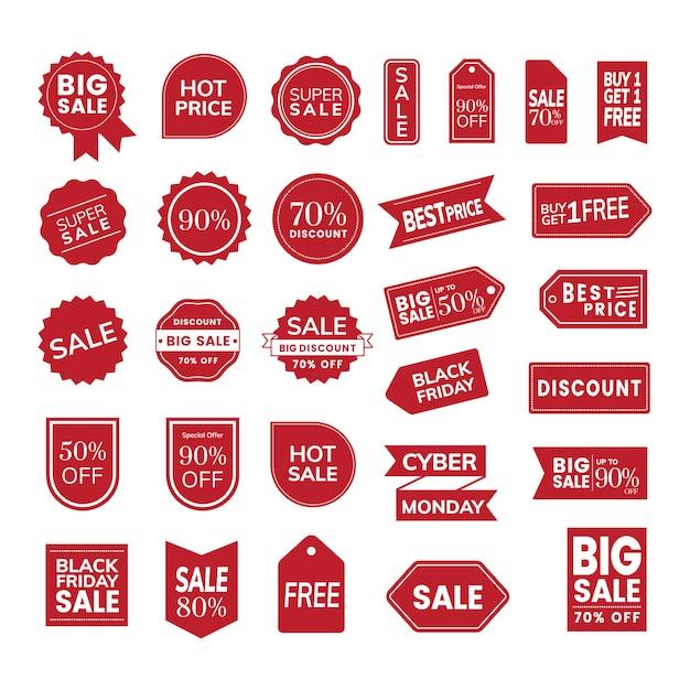 Satz von promotion-abzeichenvektoren Kostenlosen Vektoren