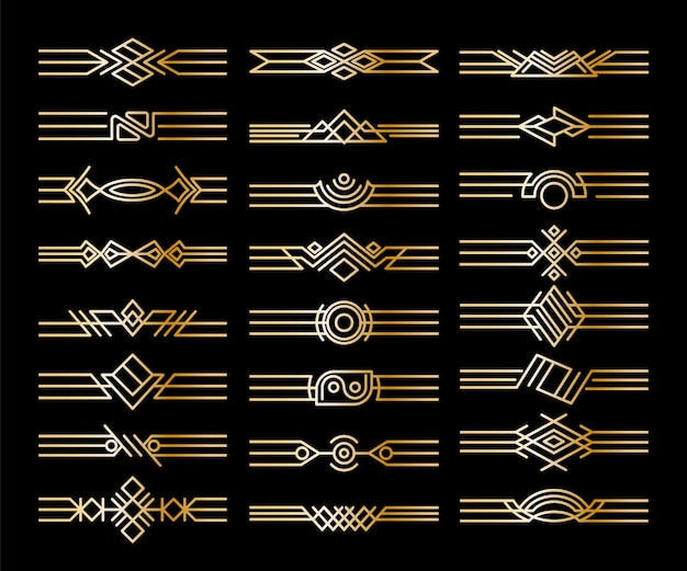 Satz von randteilern. dekorative goldene vignetten. kalligraphische gestaltungselemente und seitendekoration Premium Vektoren