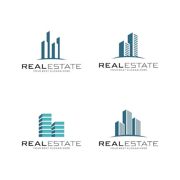 Satz von real estate logo, bau und konstruktion Premium Vektoren