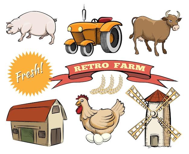 Satz von retro farm farbigen vektorikonen, die eine schweinetraktor-kuhscheune darstellen, die hühnerwindmühle legt oder ein frisches logo und ein bandbanner mit dem text mahlt Kostenlosen Vektoren