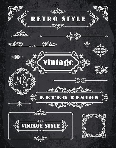 Satz von Retro Vintage Abzeichen, Rahmen, Etiketten und Grenzen ...