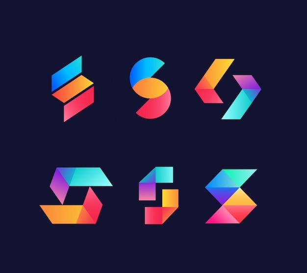 Satz von s anfangsbuchstaben logo-design Premium Vektoren