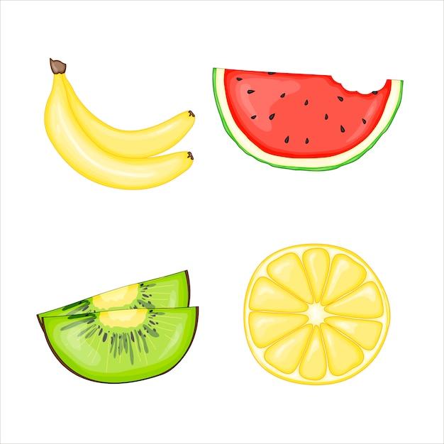 Satz von saftigen früchten Premium Vektoren