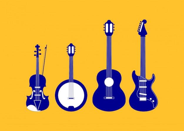 Satz von saitenmusikinstrumenten Premium Vektoren
