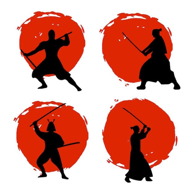 Satz von samurai warriors silhouette auf rotem mond Premium Vektoren