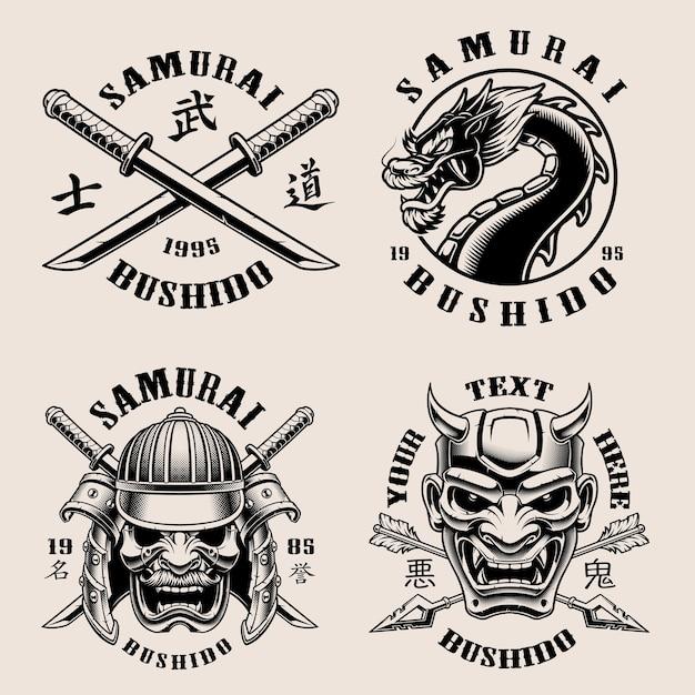 Satz von schwarzen und weißen samurai-emblemen Premium Vektoren