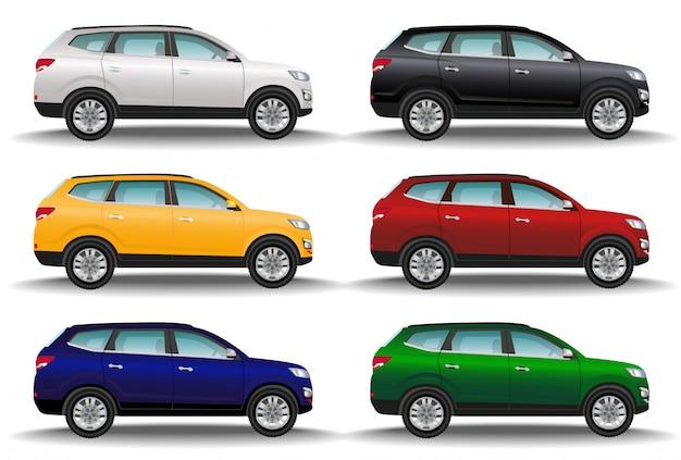 Satz von sechs verschiedenen farbautos auf weißem hintergrund. luxus-offroad-fahrzeuge. realistische überkreuzung. 4x4 transport. Premium Vektoren
