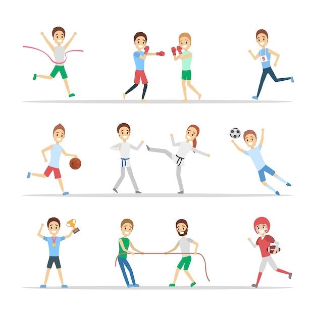 Satz von sportlern. menschen, die verschiedene sportarten ausüben: basketball spielen, boxen, laufen und den wettbewerb gewinnen. flache vektorillustration Premium Vektoren