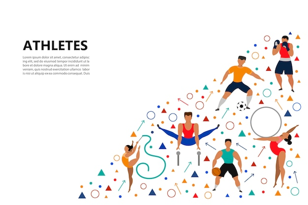 Satz von sportlichen menschen. Premium Vektoren