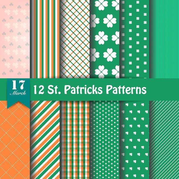 Satz von st. patrick's day patterns Premium Vektoren