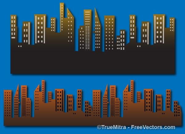 Satz von städtischen gebäuden hintergrund Kostenlosen Vektoren