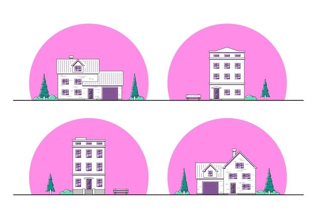 Satz von städtischen und vorstädtischen wohnhäusern, dünne linienikonen. Premium Vektoren